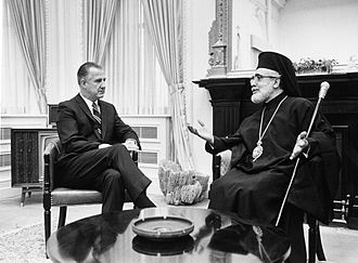 Greek Americans - Archbishop Iakovos and Vice President Agnew at White House