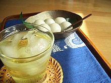 Iced green tea with dango