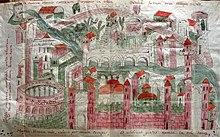 Iconografia rateriana, la più antica rappresentazione di Verona, dove spicca l'anfiteatro ancora in ottime condizioni di conservazione.
