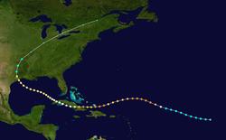 Карта, показывающая путь тропического циклона, который обычно движется справа налево.  Трек пересекает несколько участков суши слева от изображения, а затем изгибается к верхней половине карты.