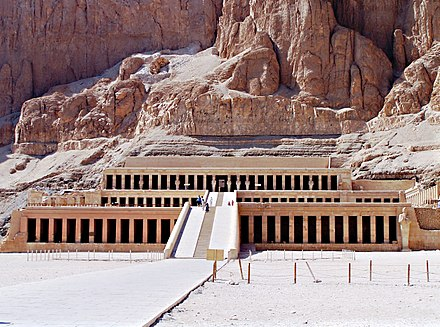 Djeser-Djeseru is the main building of Hatshepsut's mortuary temple complex at Deir el-Bahri, the building is an example of perfect symmetry that predates the Parthenon by a thousand years - Ancient Egypt