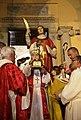 Il vescovo Mariano Crociata benedice i fedeli con il braccio reliquiario di San Cesareo.jpg