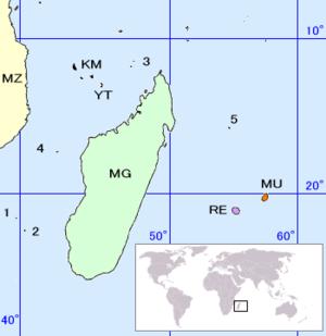 Location of the Scattered islands in the Indian Ocean: • 1: Bassas da India • 2: Europa Island • 3: Glorioso Islands • 4: Juan de Nova Island • 5: Tromelin Island (KM: Comoros, MG: Madagascar, MU: Mauritius, MZ: Mozambique, RE: Réunion, YT: Mayotte)