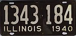 Illinois 1940 license plate - Number 1343 184.jpg
