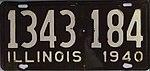 Illinois 1940 license plate - Number 1343 184.jpg
