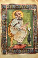 Illumination from the Garima Gospels, in a scene depicting Mark the Evangelist.