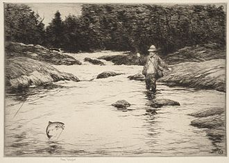 """Sears Gallagher - """"In the Rapids"""" Etching by Sears Gallagher. Photograph courtesy of the Boston Public Library by permission of the artist's heirs."""
