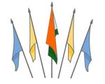 Darstellung der Anordnung der Indischen Nationalflagge mit anderen nicht-nationalen Flaggen