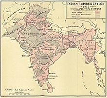 A map of the Indian Empire in 1915 delineating areas which were in the British Raj and those which were princely kingdoms.
