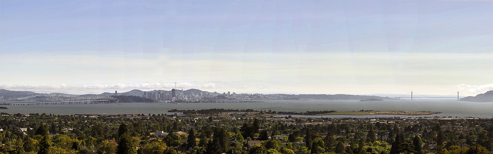 The city as seen from Indian Rock Park in the North Berkeley Hills. Berkeley is in the foreground, with the Berkeley Marina and César Chávez Park just beyond. Indian rock.jpg
