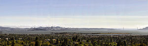 Berkeley, California - As seen from Indian Rock Park in the North Berkeley hills. Berkeley is in the foreground, with the Berkeley Marina and César Chávez Park just beyond.