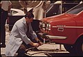 Inspector Testing The Exhaust Of An Auto At Soldier's Field One Of Nine Auto Pollution Test Sites Conducted Free By The City Of Chicago's Environmental Control Department, 08-1973 (8674883561).jpg