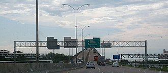 Interstate 10 in Louisiana - Interstate 10 eastbound passing over Lake Charles/Calcasieu River near Lake Charles