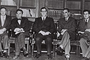 Abba Eban - Israel delegation to the UN: (l-r) A. Lourie, consul general; Dr. J. Robinson, counsellor; A. Eban, envoy extraordinary; Dr. Avraham Katznelson, Minister of Health; Gideon Rafael, Foreign Affairs (1950)