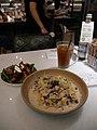Italian mascarpone tomato salad and black truffle and bacon and mushrooms with fettuccine in cream sauce.jpg