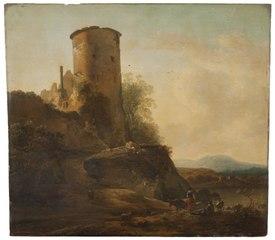 Italienskt berglandskap med borgruin, djur och figurer