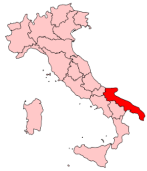 Sacra Corona Unita - Map highlighting the location of Puglia in Italy