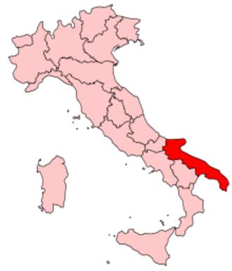 Music of Apulia - Image: Italy Regions Apulia Map