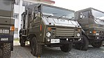 JGSDF Type 73 chugata truck(07-9812) with shelter of JMMQ-M7-B aeronautical meteorological observation unit right front view at Camp Akeno November 4, 2017.jpg