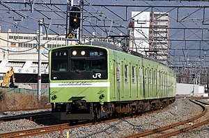 "Osaka Higashi Line - A 201 series EMU on a ""Local"" service in February 2011"