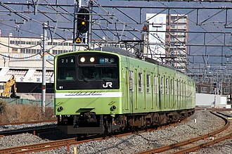 "Osaka Higashi Line - A 201 series EMU on a ""Local"" service in February 2011"