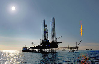 Economy of Turkmenistan - Image: Jack up rig in the caspian sea