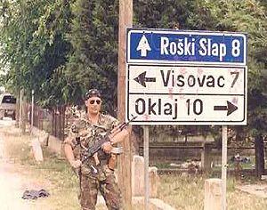 Battle of the Miljevci Plateau - A Croatian infantryman posing in the village of Širitovci, on the Miljevci Plateau