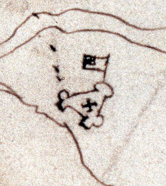 Jamestown, Virginia - Detail of the map made by Pedro de Zúñiga, depicting the fort in about 1608