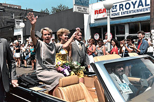 Jane Byrne - Byrne and her daughter Kathy attending in the annual Chicago Gay Pride Parade, 1985.