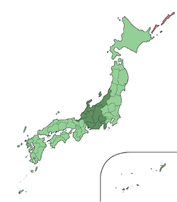 Map showing the Tōhoku region of Japan. It comprises the middle area of the island of Honshū.