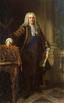 A painted full-length portrait of a slightly overweight man in a powdered wig and Georgian clothing