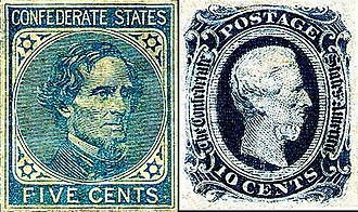 Jefferson Davis - Jefferson Davis on CSA Postage stamps
