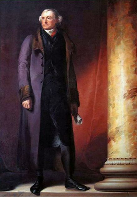 Thomas Jefferson at age 78. Portrait by Thomas Sully hanging at West Point, commissioned by Faculty and Cadets, 1821. Jefferson Portrait West Point by Thomas Sully.jpg