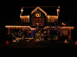 House decorated for Christmas. Jeffreys Bay, E...