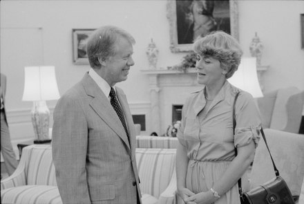 Ferraro meeting with President Jimmy Carter at the White House in 1978 Jimmy Carter with Congresswomen, Geraldine Ferraro - NARA - 181476.tif