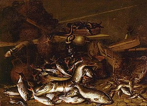 Johannes Fabritius - Still life of fish, eels, and fishing nets