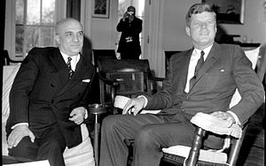 Amintore Fanfani - Fanfani with John F. Kennedy at the White House, in 1963.