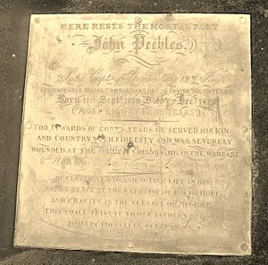 Battle of Bushy Run - Memorial plaque to John Peebles who was wounded at the Battle of Bushy Run.