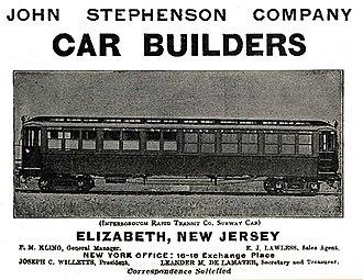 John Stephenson Company - Advertisement from 1903