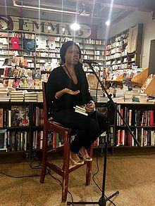 Elizabeth at Red Emma's book store in Baltimore during her book tour