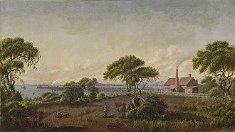 San Francisco and Alameda Railroad - Image: Joseph Lee painting Alameda Shore (1868)