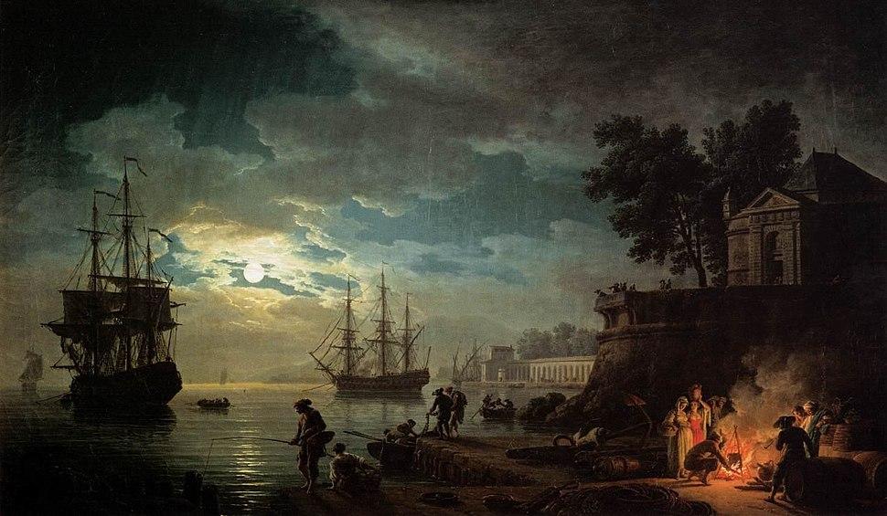 Joseph Vernet - Night - Seaport by Moonlight - WGA24731
