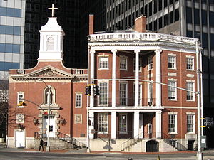 Elizabeth Ann Seton - The Seton home in New York City was located at the site on which a church now stands in her honor, with the (7 State Street) serving as the rectory.