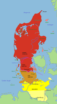 Red: The Danish part of Jutland. Pink: The islands Læsø, Anholt, Samsø and Als, by administration and history parts of Jutland. Brown: Southern Schleswig, historically a part of Jutland, although now in Germany. Yellow: Holstein, not part of Jutland, but situated on the Jutland Peninsula.