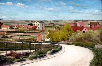 Kähler Keramik - Kähler's buildings behind the hill in Næstved, painting by L. A. Ring