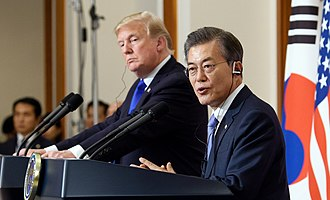 Moon Jae-in - Moon with U.S. President Donald Trump at the height of the North Korea crisis in November 2017