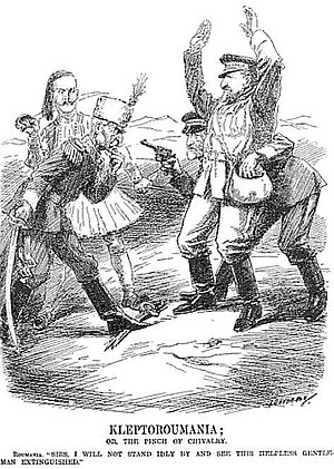 "Pun - KLEPTOROUMANIA Punch cartoon of the Second Balkan War. King Carol I of Romania points his pistol at King Peter I of Serbia and King Constantine of Greece while he steals Southern Dobrudja from the disarmed Tsar Ferdinand of Bulgaria. The title ""KLEPTOROUMANIA"" is a pun on kleptomania, the mental disorder of impulsive stealing for the sake of stealing."