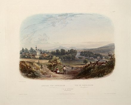 "View of Bethlehem (circa 1832): aquatint by Karl Bodmer from the book ""Maximilian, Prince of Wied's Travels in the Interior of North America, during the years 1832-1834"" Karl Bodmer Travels in America (3).jpg"