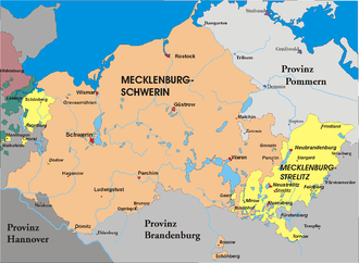 Grand Duchy of Mecklenburg-Strelitz - Map of Mecklenburg, Strelitz territories in yellow