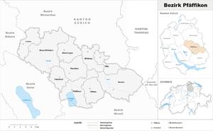 Pfäffikon District - Image: Karte Bezirk Pfäffikon 2016